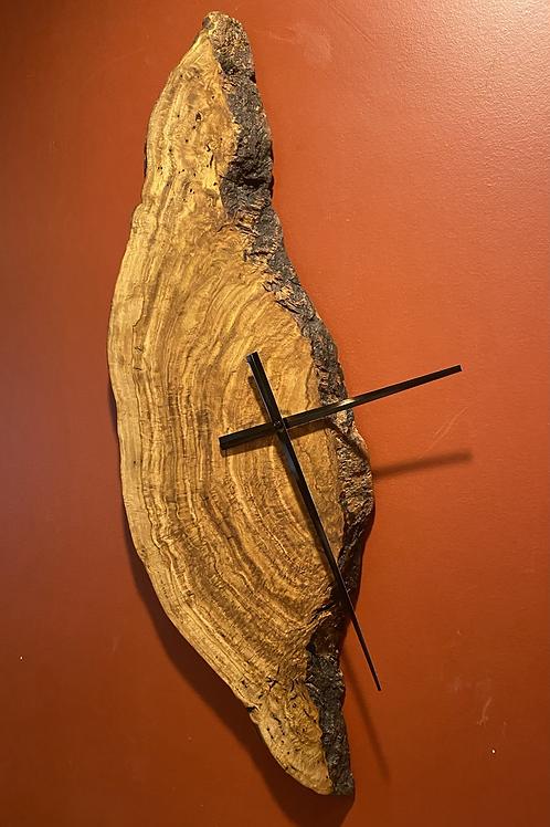 Oak burl clock