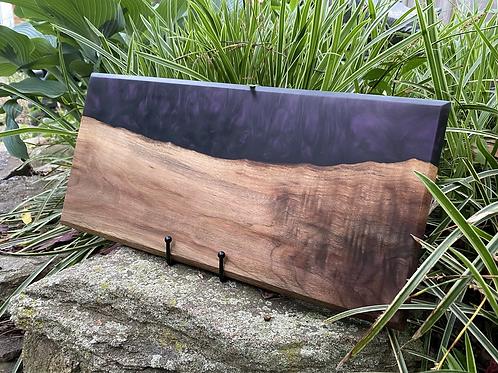 Black walnut and purple epoxy charcuterie board
