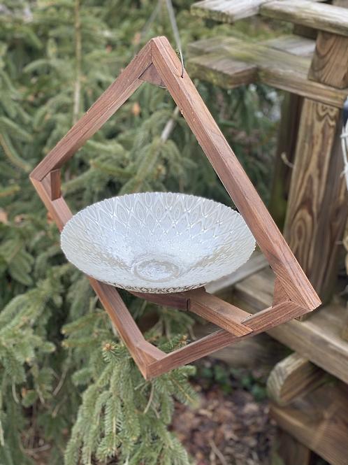 Mahogany and glass bird bath