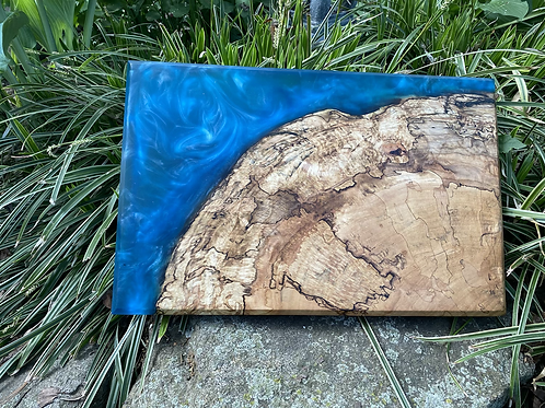 Maple burl and epoxy charcuterie board