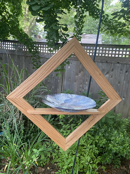White oak birdbath/feeder