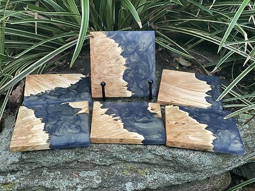 Maple burl and beetle blue epoxy coaster set of 6
