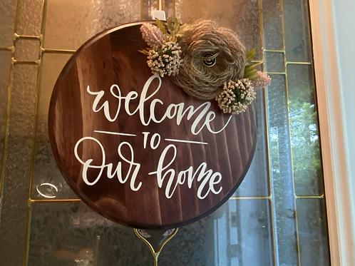 """12"""" wooden welcoming door sign"""