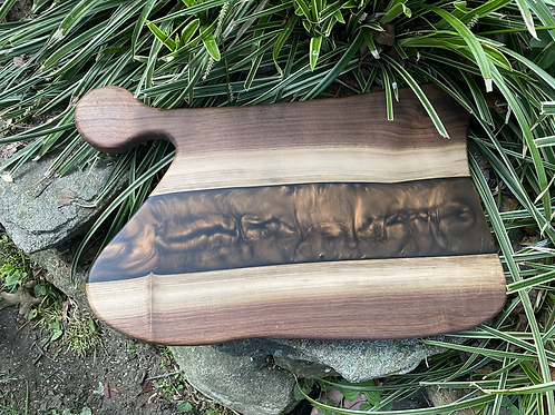 Black walnut and epoxy charcuterie board