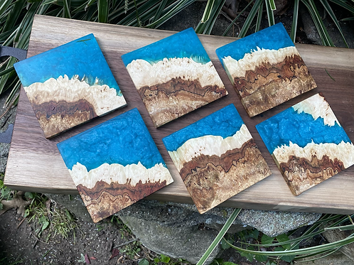Maple burl and epoxy coasters