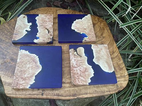 Maple burl and cobalt blue epoxy coaster set of 4