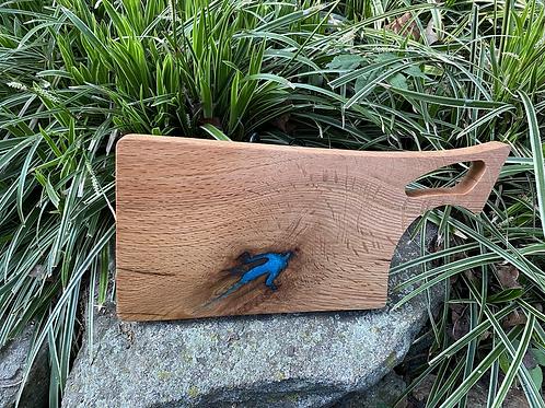 Oak cutting board with epoxy