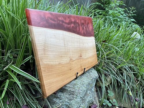 Large red maple and wine epoxy charcuterie board