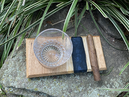 Butternut and epoxy whiskey and cigar tray