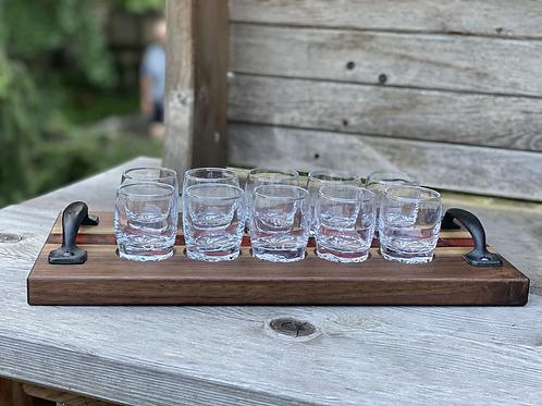 Walnut and epoxy shot glass tray