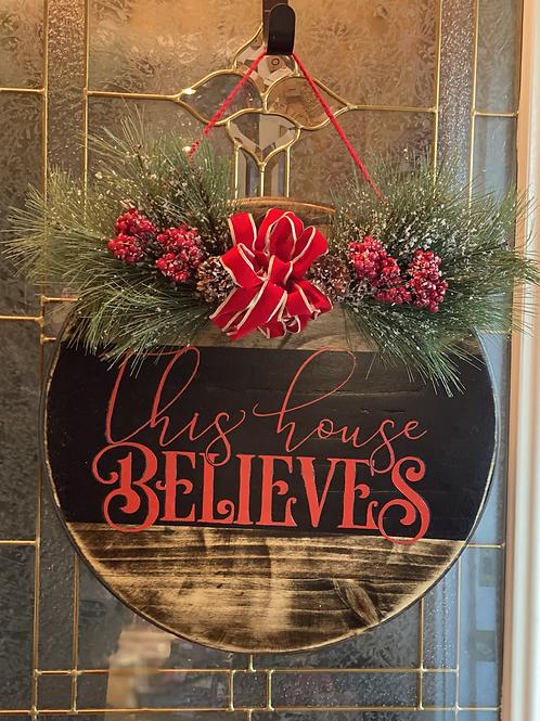 """18"""" wooden Christmas door sign"""