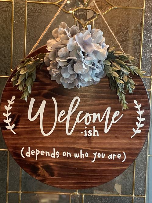"""18"""" wooden welcoming door sign"""