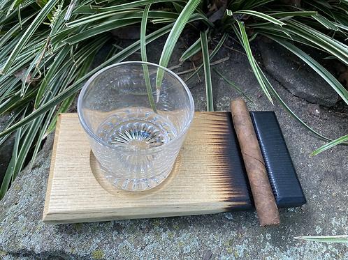 Blacked ash whiskey and cigar tray