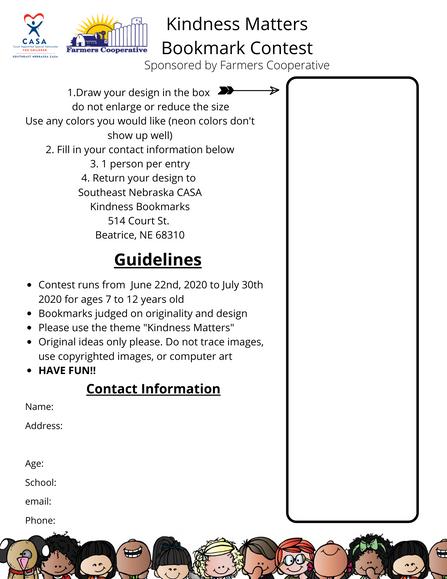Southeast Nebraska CASA Bookmark Design Contest