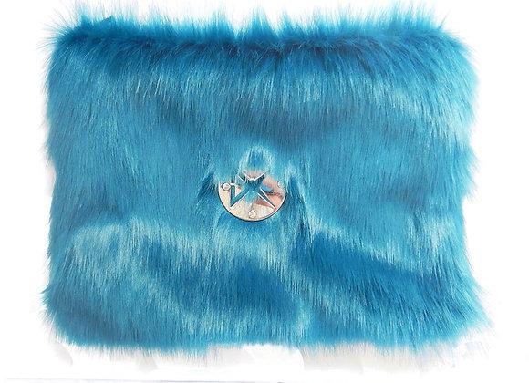 Large Blue Fur Pouch