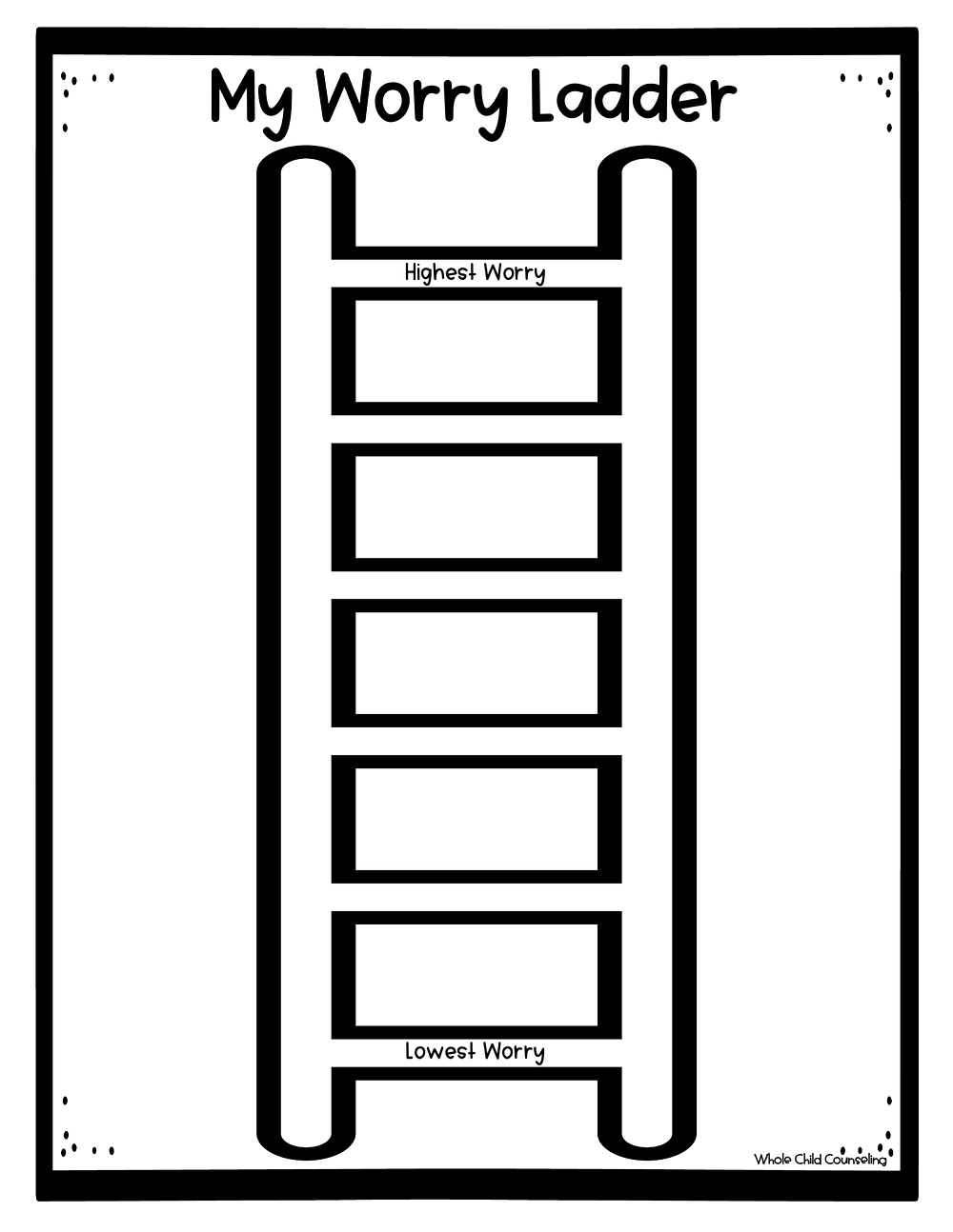 worry ladder for kids anxiety