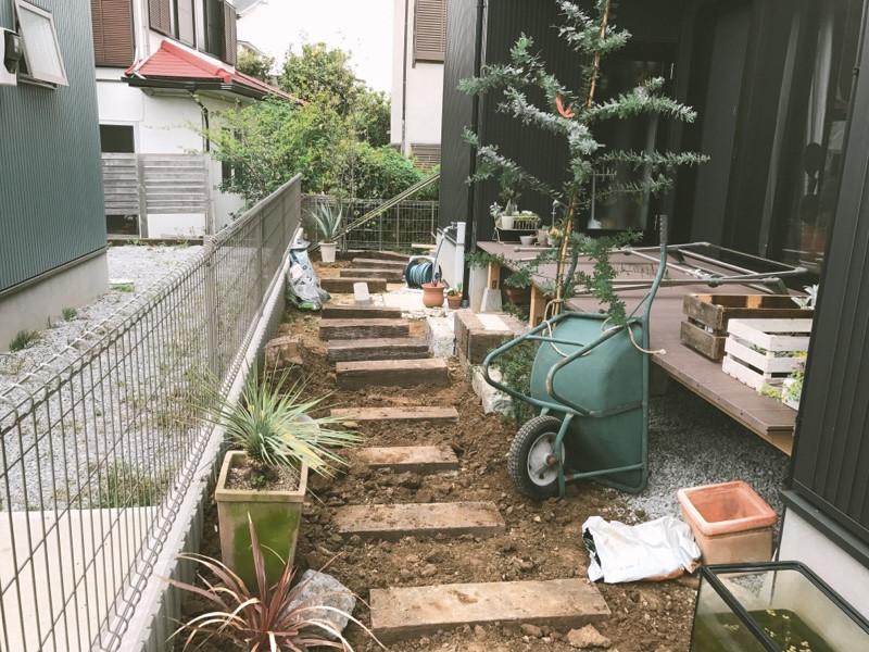 枕木の園路