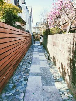 ウッドフェンス 石畳 洗い出し@鎌倉市