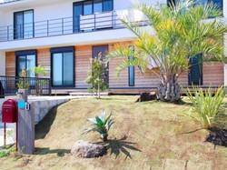 ココスヤシと芝生の庭