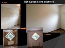 renovation en peinture d'une chambre