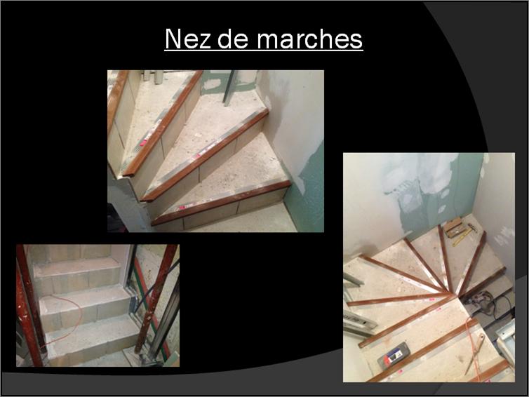 Pose de carrelage dans un escalier