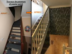 rénovation escalier peinture papier