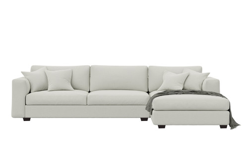 Lawson Style Square Arm L Shape Sofa With Tapered Wooden Legs