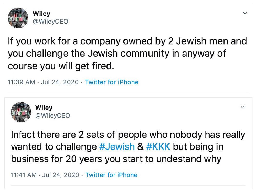 Wiley Grime BBK Skepta Antisemitism