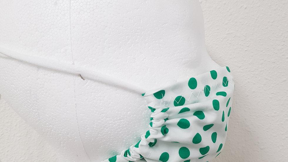 MONDKAPJE WIT - groene stip