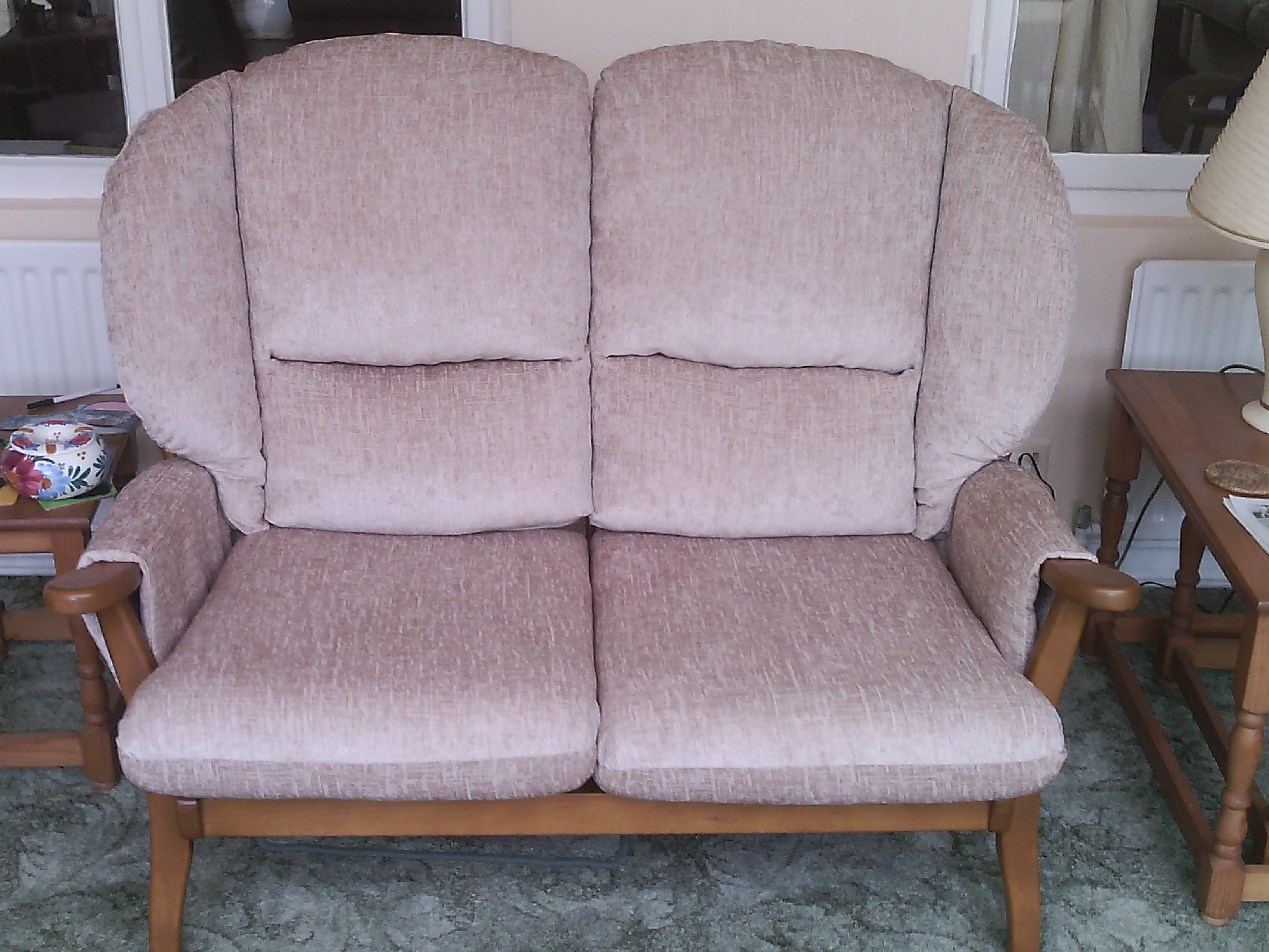 After I re-upholstered settee