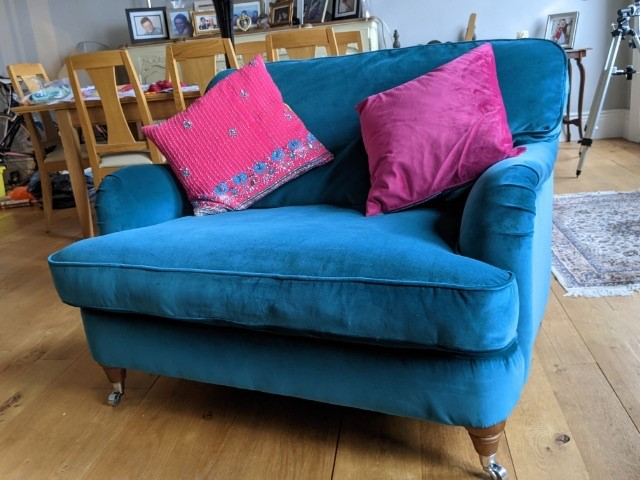 Love seat in blue after