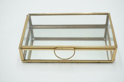 Ringbox mit Metallrahmen in antikem gold, rechteckig