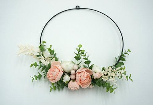 Flower Hoop mit Seidenblumen rosa 28 cm