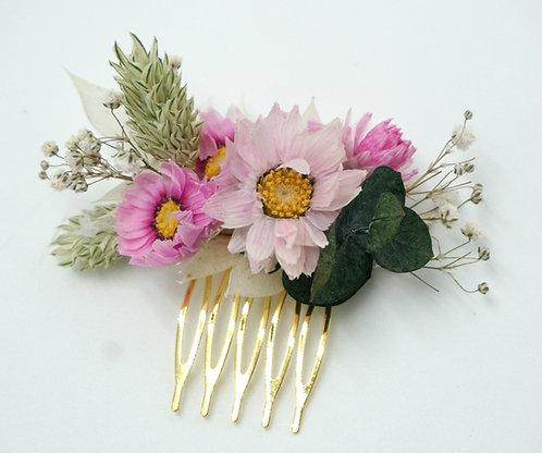 "Blumenhaarkamm Trockenblumen ""Pink Strawflowers"""