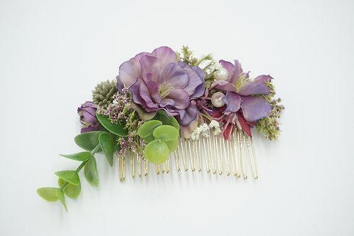 """Blumenhaarkamm aus Seidenblumen """"Peach Blossom Pearl"""""""