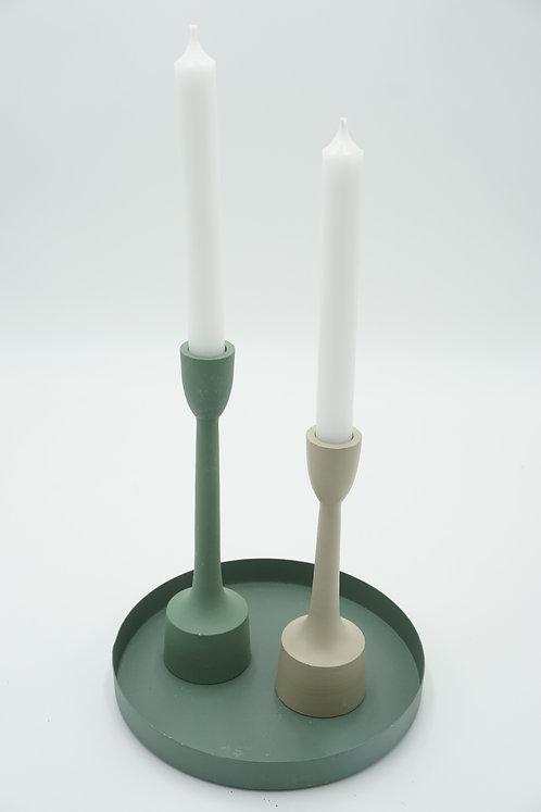 Scandi Kerzenleuchter Set inkl. Teller grün-mint