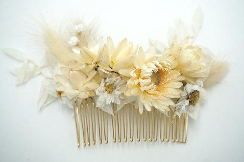 """Blumenhaarkamm Trockenblumen """"White Ruscus"""""""