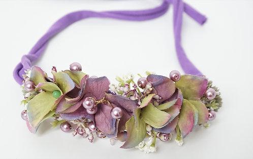 """Baby Haarband aus Seidenblumen """"Violet Pearl"""""""