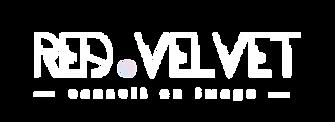 Logo Red Velvet blanc conseil en image relooking Bretagne Finistère Quimper
