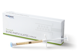 Convenient, easy to use syringes filled with Maxxeus Dental Xenograft Particulate.