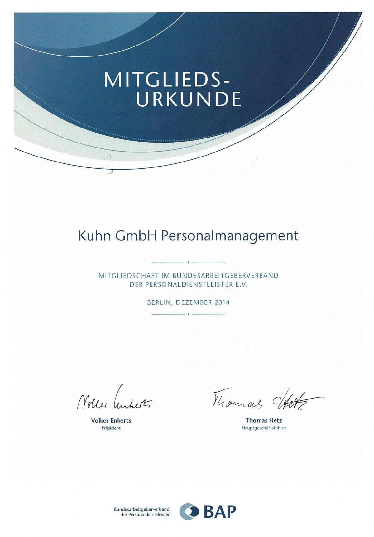 Mitgliedsurkunde Kuhn