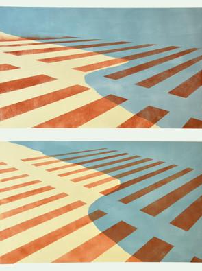 aerial landscape vertical diptych
