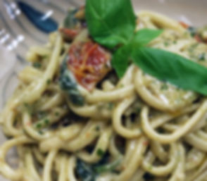 Linguine with mascarpone e pesto 490x428