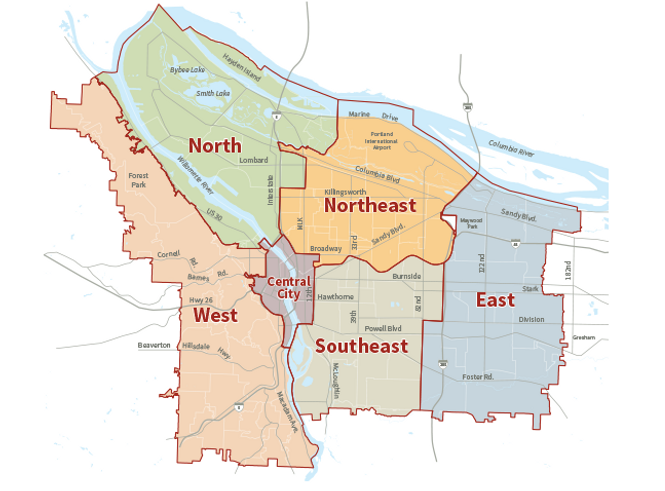 Portland Districts Map