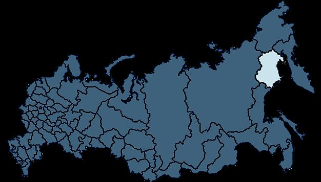Карта России с выделенной Магаданской областью