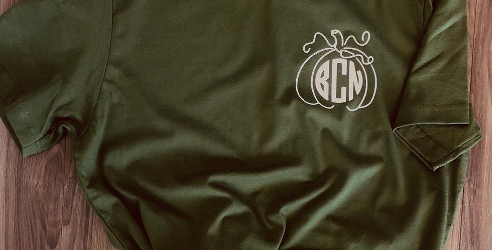 Monogram Pumpkin Tee- Fall T-Shirt