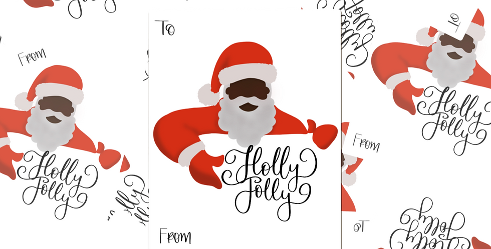 Black Santa Gift Tag Stickers