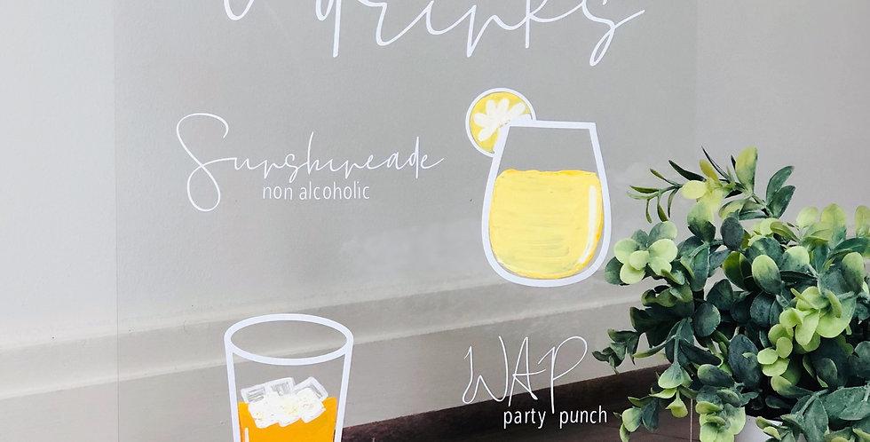 Signature Drinks (max 2)- 11x14 Acrylic Bar Sign