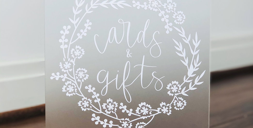 Cards & Gifts 8x10- Frosted Acrylic Wedding Sign
