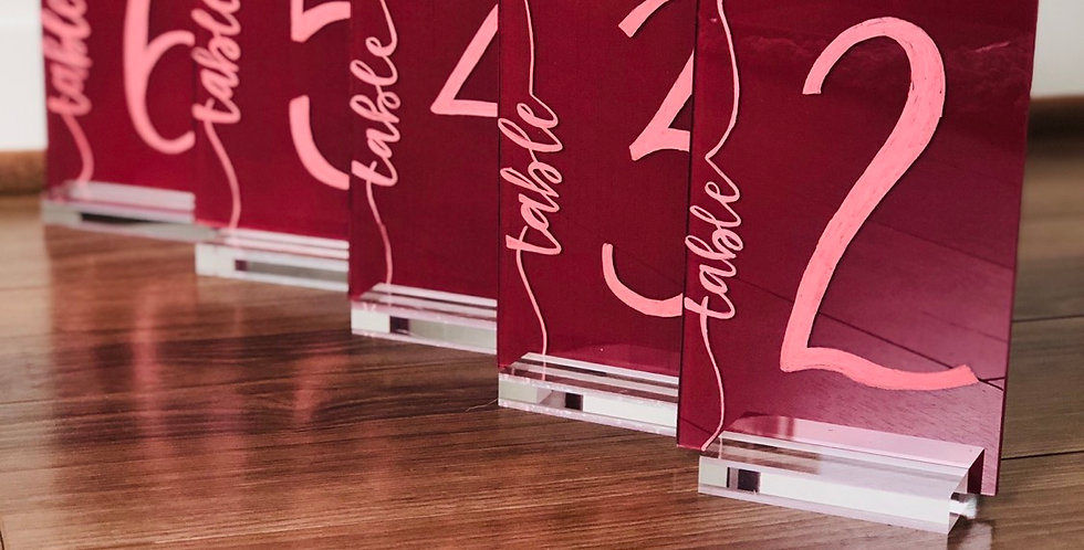 Painted Back Acrylic Table Numbers